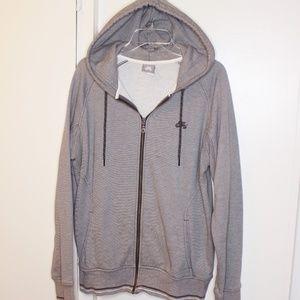 Nike Grey Fine Stripe Hoodie Sweatshirt L